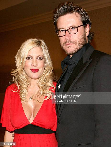 Tori Spelling and Dean McDermott during 'Beverly Hills 90210' and 'Melrose Place' DVD Launch Party Pink Carpet at Beverly Hilton in Beverly Hills...
