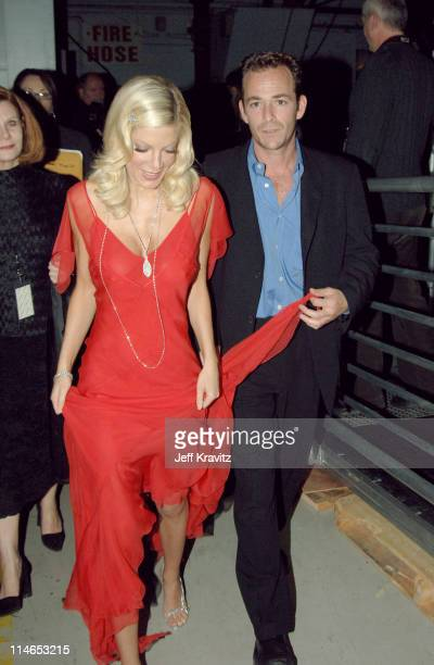 Tori Spelling and Luke Perry during 2005 TV Land Awards Backstage at Barker Hangar in Santa Monica California United States