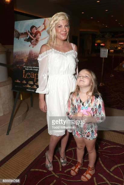 Tori Spelling and Stella Doreen McDermot attend the premiere Of The Weinstein Company's 'Leap' at Pacific Theatres at The Grove on August 19 2017 in...