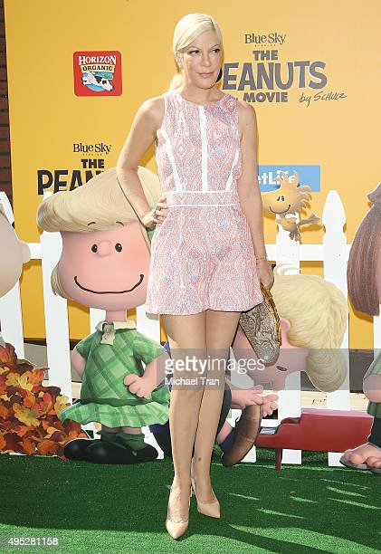 Tori Spelling arrives at the Los Angeles premiere of 20th Century Fox's 'The Peanuts Movie' held at Regency Village Theatre on November 1 2015 in...