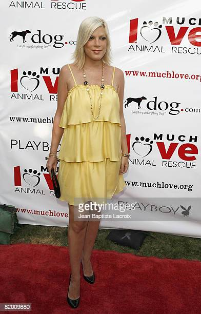 Tori Spelling arrives at the Much Love Animal Rescue Presents The Second Annual 'Bow Wow WOW' at The Playboy Mansion on July 19 2008 in Beverly Hills...