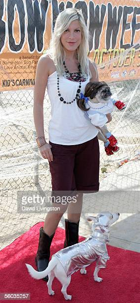 Tori Spelling arrives with her pug Mimi and Ferris a Much Love dog awaiting adoption at the Dogswell Dog Treats presents the Fourth Annual Much Love...