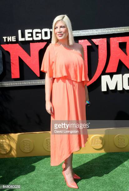 Tori Spelling at the premiere of Warner Bros Pictures' 'The LEGO Ninjago Movie' at Regency Village Theatre on September 16 2017 in Westwood California