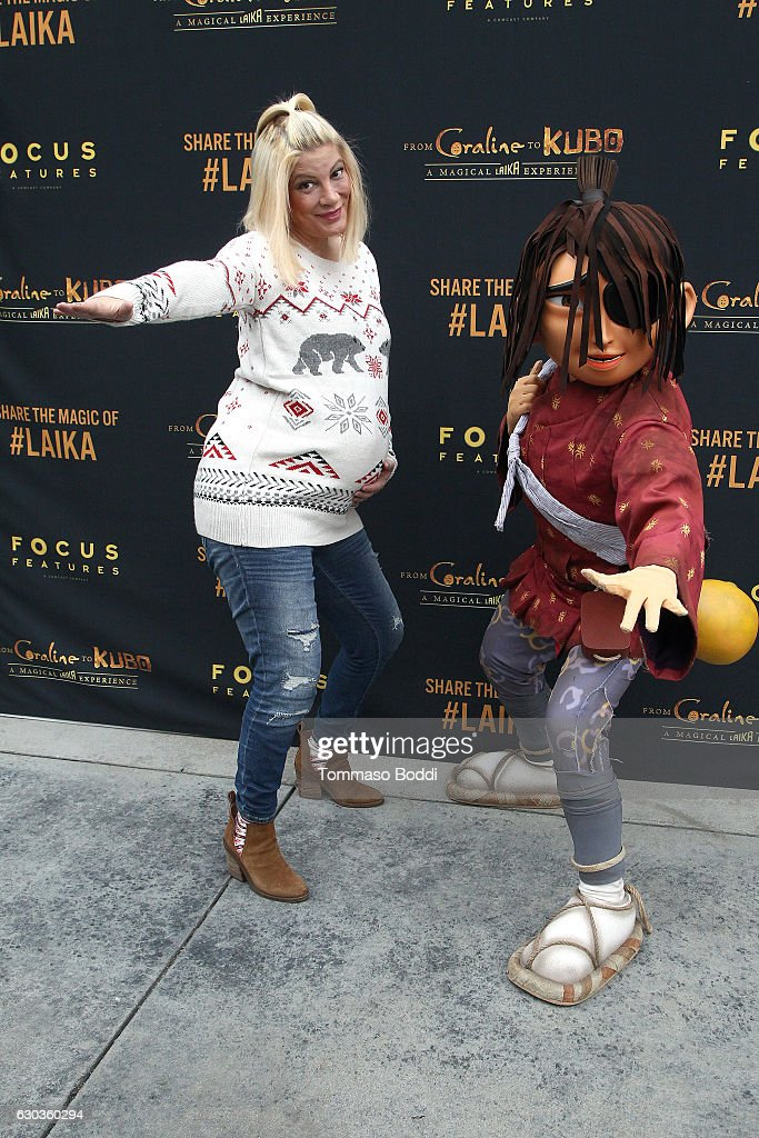 Tori Spelling attends the Grand Re-Opening Event For 'From Coraline To Kubo: A Magical LAIKA Experience' at The Globe Theatre on December 21, 2016 in Universal City, California.