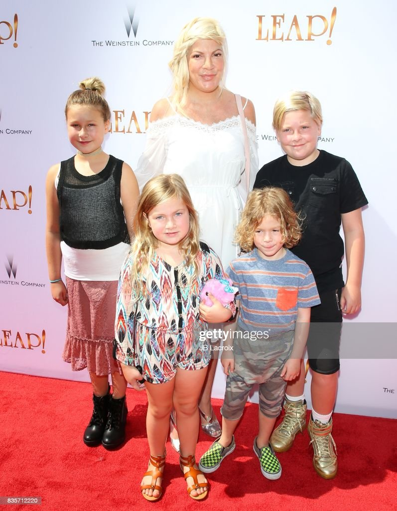 Tori Spelling attends the premiere of The Weinstein Company's 'Leap!' on August 19, 2017 in Los Angeles, California.