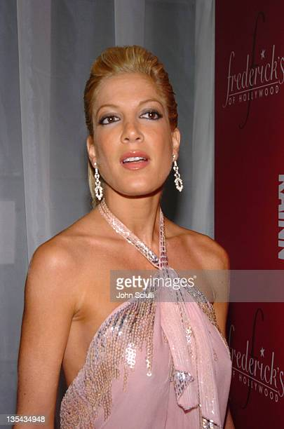 Tori Spelling during 2nd Annual Lingerie Art Auction and Fashion Show Hosted by Fredericks of Hollywood Red Carpet at Hollywood Roosevelt Hotel in...