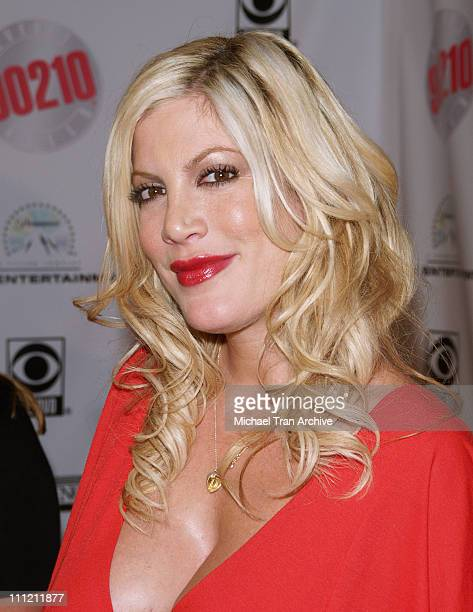 Tori Spelling during 'Beverly Hills 90210' and 'Melrose Place 'DVD Launch Party Arrivals at The Beverly Hilton in Beverly Hills California United...