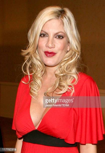 Tori Spelling during 'Beverly Hills 90210' and 'Melrose Place' DVD Launch Party Pink Carpet at Beverly Hilton in Beverly Hills California United...