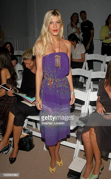 Tori Spelling during Olympus Fashion Week Spring 2005 J Mendel Front Row at Plaza Tent Bryant Park in New York City New York United States