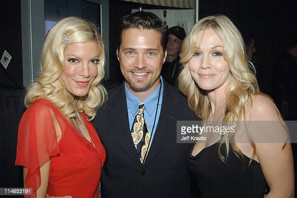 Tori Spelling Jason Priestley and Jennie Garth during 2005 TV Land Awards Backstage at Barker Hangar in Santa Monica California United States