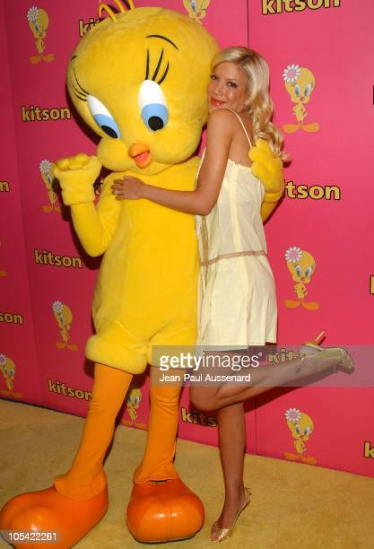 Tori Spelling with Tweety during Tweety 'Natural Blonde' Shopping Party and Clothing Launch Arrivals at Kitson in Los Angeles California United States