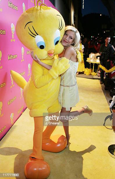 Tori Spelling with Tweety during Tweety 'Natural Blonde' Shopping Party and Clothing Launch Yellow Carpet at Kitson in Beverly Hills California...
