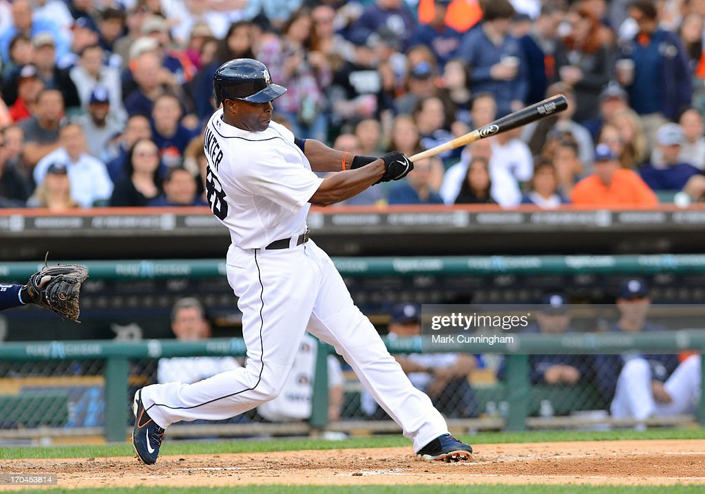 Torii Hunter #48 of the Detroit Tigers bats during the game against the Tampa Bay Rays at Comerica Park on June 4, 2013 in Detroit, Michigan. The Tigers defeated the Rays 10-1.