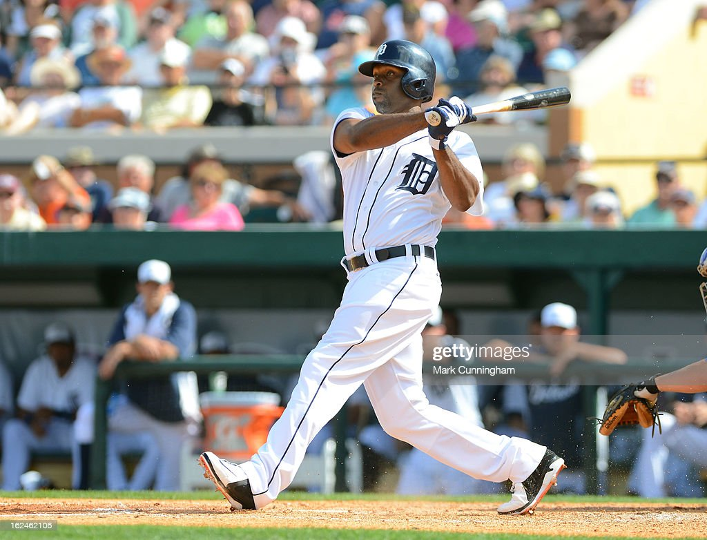 <a gi-track='captionPersonalityLinkClicked' href=/galleries/search?phrase=Torii+Hunter&family=editorial&specificpeople=183408 ng-click='$event.stopPropagation()'>Torii Hunter</a> #48 of the Detroit Tigers bats during the spring training game against the Toronto Blue Jays at Joker Marchant Stadium on February 23, 2013 in Lakeland, Florida. The Blue Jays defeated the Tigers 10-3.