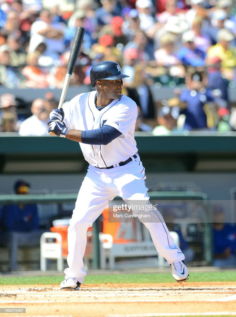 <a gi-track='captionPersonalityLinkClicked' href=/galleries/search?phrase=Torii+Hunter&family=editorial&specificpeople=183408 ng-click='$event.stopPropagation()'>Torii Hunter</a> #48 of the Detroit Tigers bats during the spring training game against the Toronto Blue Jays at Joker Marchant Stadium on March 6, 2013 in Lakeland, Florida. The Tigers defeated the Blue Jays 4-1.