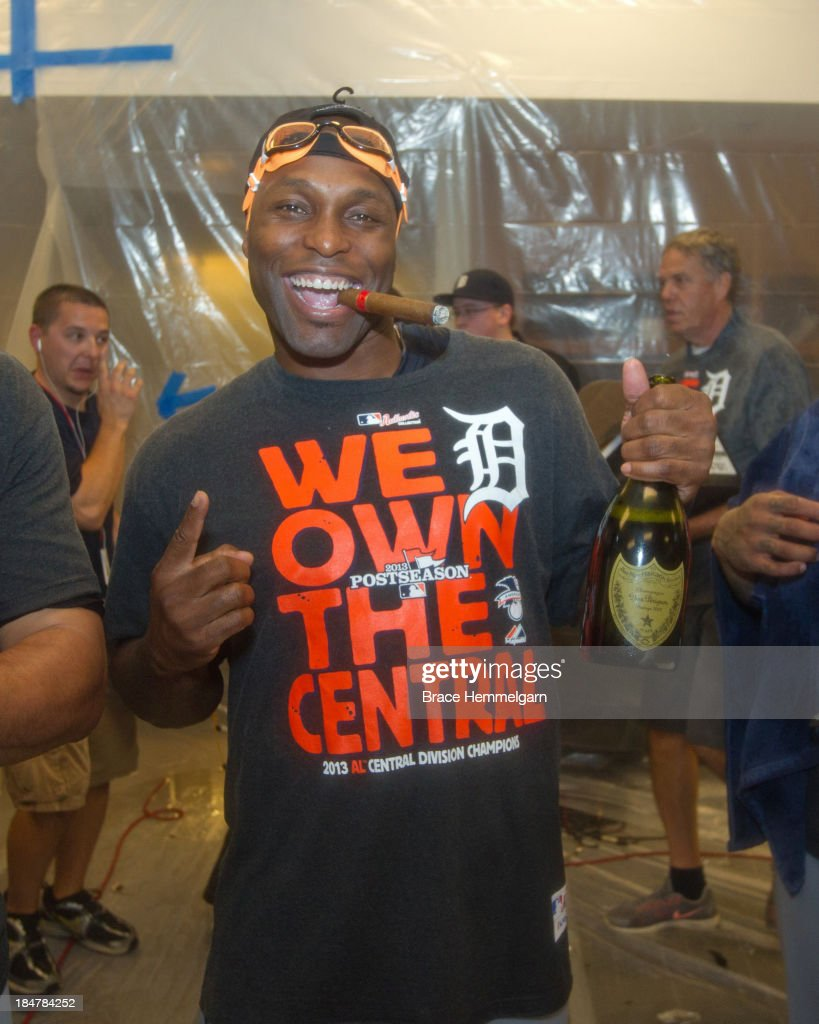 <a gi-track='captionPersonalityLinkClicked' href=/galleries/search?phrase=Torii+Hunter&family=editorial&specificpeople=183408 ng-click='$event.stopPropagation()'>Torii Hunter</a> #48 of the Detroit Tigers celebrates in the clubhouse following the game against the Minnesota Twins on September 25, 2013 at Target Field in Minneapolis, Minnesota. The Tigers defeated the Twins 1-0.