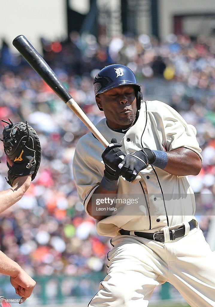 Torii Hunter #48 of the Detroit Tigers is hit by a pitch during the fourth inning by Kris Medlen #54 of the Atlanta Braves during the game at Comerica Park on April 27, 2013 in Detroit, Michigan.