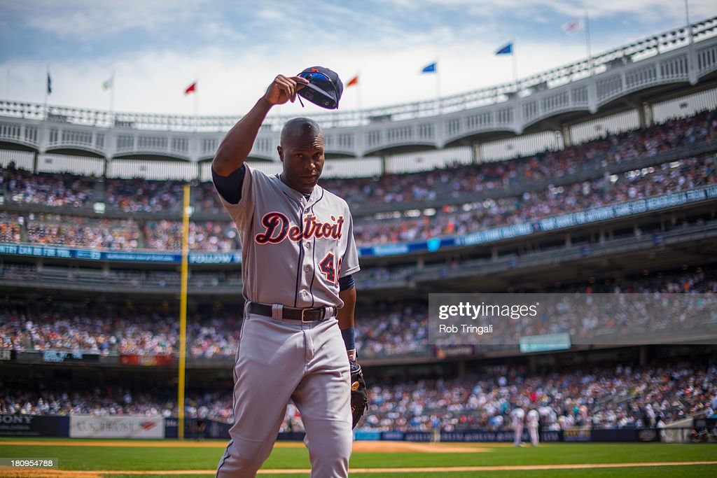 <a gi-track='captionPersonalityLinkClicked' href=/galleries/search?phrase=Torii+Hunter&family=editorial&specificpeople=183408 ng-click='$event.stopPropagation()'>Torii Hunter</a> #48 of the Detroit Tigers looks on during the game against the New York Yankees at Yankee Stadium on August 10, 2013 in the Bronx borough of Manhattan.