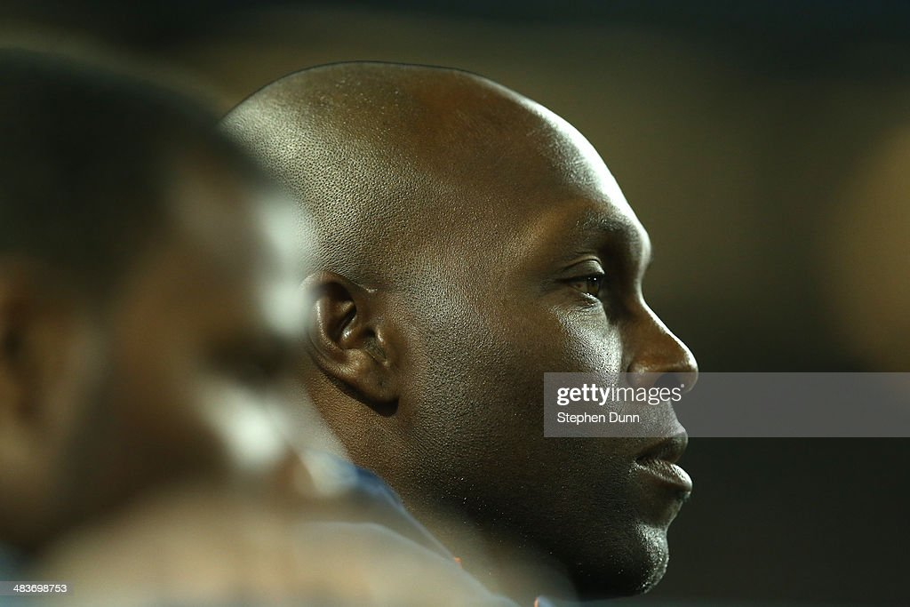 <a gi-track='captionPersonalityLinkClicked' href=/galleries/search?phrase=Torii+Hunter&family=editorial&specificpeople=183408 ng-click='$event.stopPropagation()'>Torii Hunter</a> #48 of the Detroit Tigers looks on from the dugout during the game with the Los Angeles Dodgers at Dodger Stadium on April 9, 2014 in Los Angeles, California.