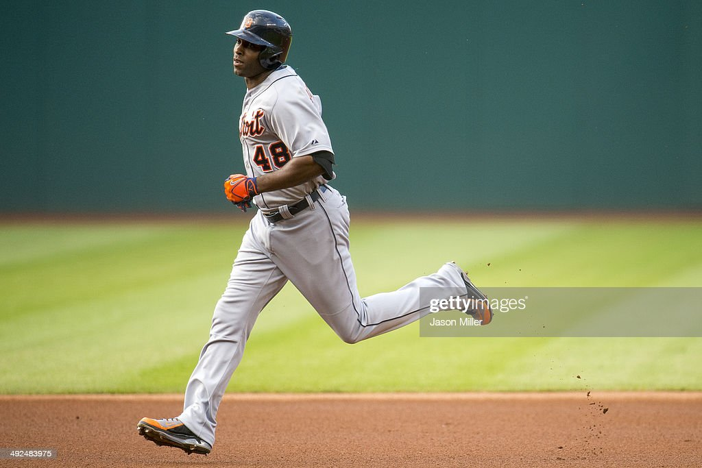 Torii Hunter #48 of the Detroit Tigers rounds the bases after hitting a solo home run during the first inning against the Cleveland Indians at Progressive Field on May 20, 2014 in Cleveland, Ohio.