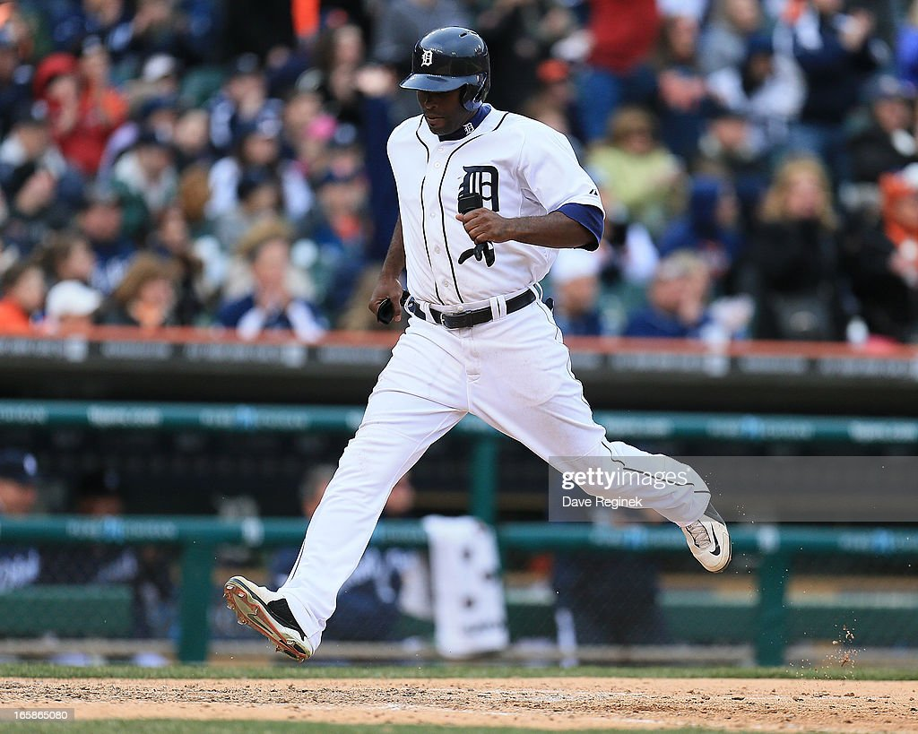 <a gi-track='captionPersonalityLinkClicked' href=/galleries/search?phrase=Torii+Hunter&family=editorial&specificpeople=183408 ng-click='$event.stopPropagation()'>Torii Hunter</a> #48 of the Detroit Tigers scores a run against the New York Yankees at Comerica Park on April 6, 2013 in Detroit, Michigan.