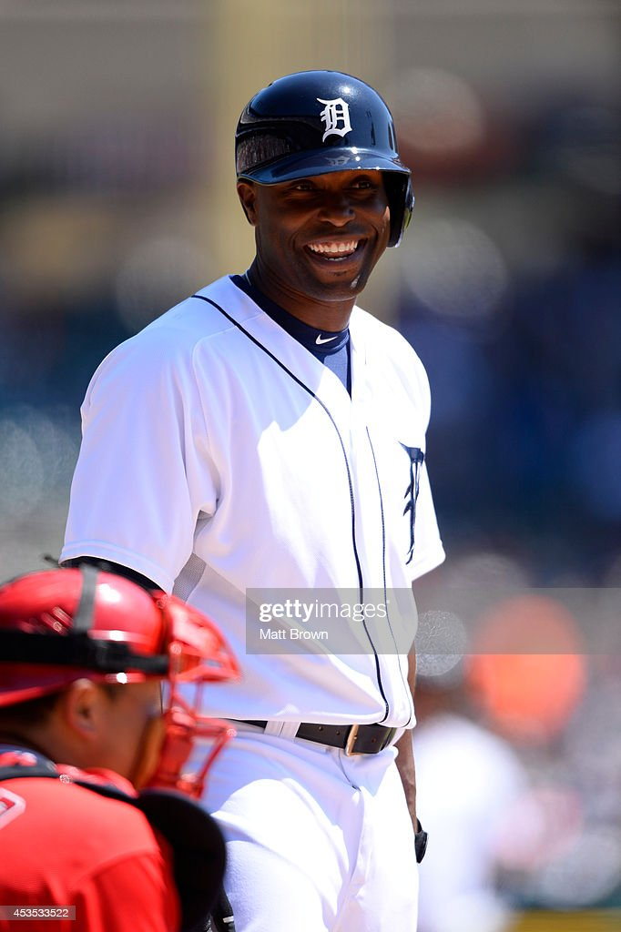 Torii Hunter #48 of the Detroit Tigers smiles during the game against the Los Angeles Angels of Anaheim on April 19, 2014 at Comerica Park in Detroit, Michigan.