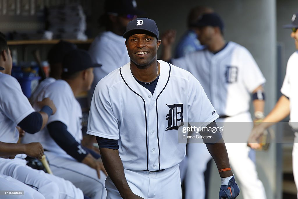 <a gi-track='captionPersonalityLinkClicked' href=/galleries/search?phrase=Torii+Hunter&family=editorial&specificpeople=183408 ng-click='$event.stopPropagation()'>Torii Hunter</a> #48 of the Detroit Tigers walks through the dugout before a game against the Baltimore Orioles at Comerica Park on June 18, 2013 in Detroit, Michigan.