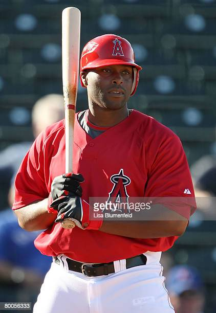 Torii Hunter of the Los Angeles Angels of Anaheim at bat during the game against the Texas Rangers at Tempe Diablo Stadium on February 28 2008 in...
