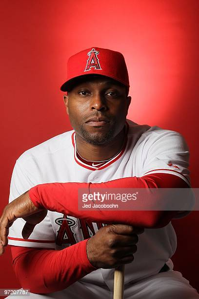 Torii Hunter of the Los Angeles Angels of Anaheim poses during media photo day at Tempe Diablo Stadium on February 25 2010 in Tempe Arizona