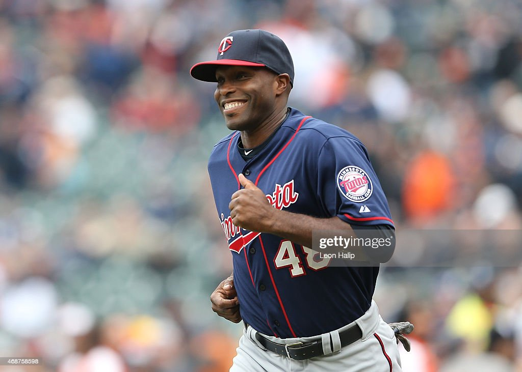 <a gi-track='captionPersonalityLinkClicked' href=/galleries/search?phrase=Torii+Hunter&family=editorial&specificpeople=183408 ng-click='$event.stopPropagation()'>Torii Hunter</a> #48 of the Minnesota Twins runs onto the field during the pregame introductions prior to the start of the Opening Day game against the Detroit Tigers at Comerica Park on April 6, 2015 in Detroit, Michigan. The Tigers defeated the Twins 4-0.