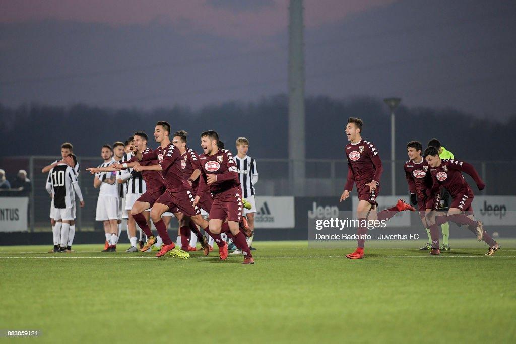 Torino celebrating during the TIM Cup Primavera match between Juventus U19 and Torino FC U19 at Juventus Center Vinovo on November 29, 2017 in Vinovo, Italy.