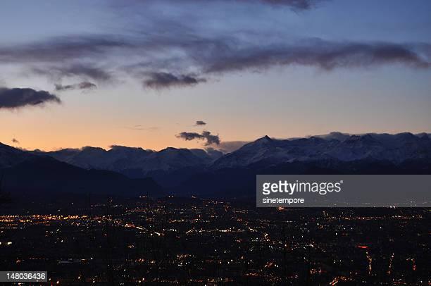 Torino cityscape at night