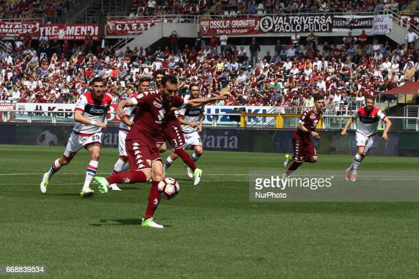 Torino defender Davide Zappacosta shoots the ball during the Serie A match between FC Torino and FC Crotone at Stadio Olimpico di Torino on April 15...