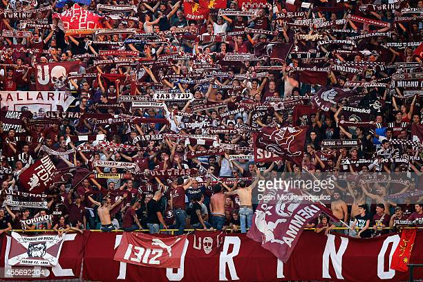 Torino fans show their support during the Group B UEFA Europa League match between Club Brugge KV and Torino FC at the Jan Breydelstadion on...