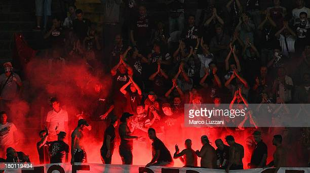 Torino FC fans show their support during the Serie A match between Atalanta BC and Torino FC at Stadio Atleti Azzurri d'Italia on September 1 2013 in...