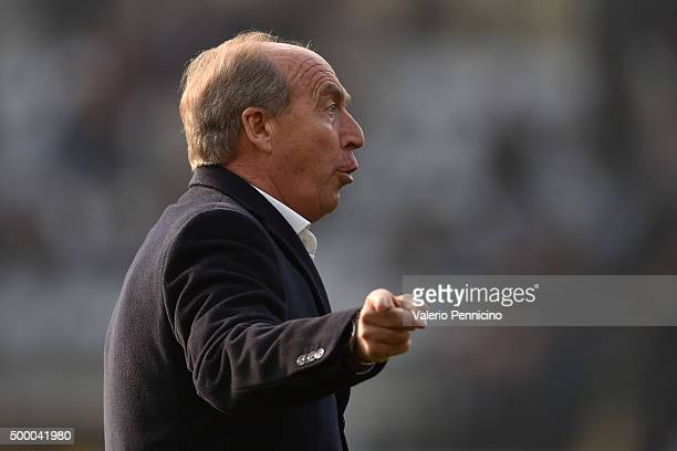 Torino FC head coach Giampiero Ventura issues instructions during the Serie A match between Torino FC and AS Roma at Stadio Olimpico di Torino on...