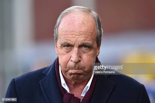Torino FC head coach Giampiero Ventura looks on during the Serie A match between Genoa CFC and Torino FC at Stadio Luigi Ferraris on March 13 2016 in...