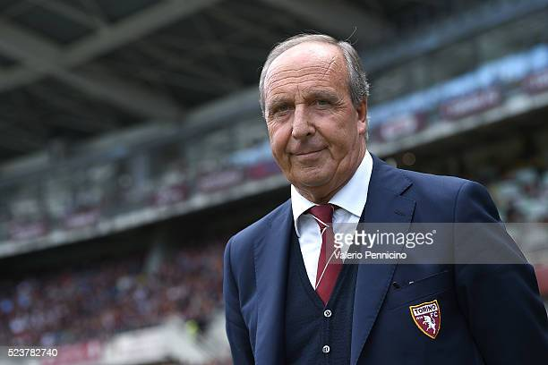 Torino FC head coach Giampiero Ventura looks on during the Serie A match between Torino FC and US Sassuolo Calcio at Stadio Olimpico Grande Torino on...