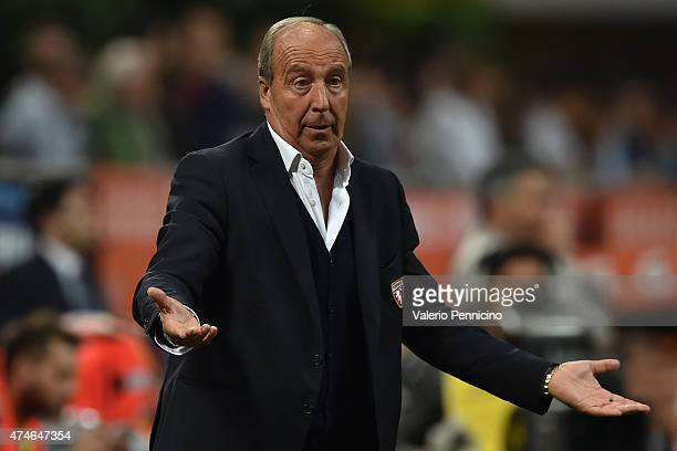 Torino FC head coach Giampiero Ventura reacts during the Serie A match between AC Milan and Torino FC at Stadio Giuseppe Meazza on May 24 2015 in...