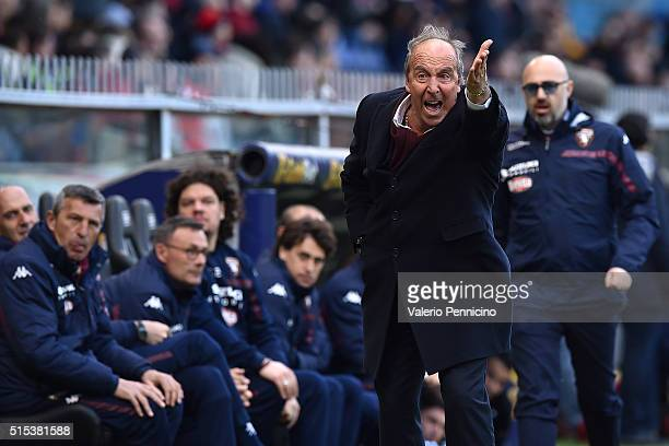 Torino FC head coach Giampiero Ventura shouts to his players during the Serie A match between Genoa CFC and Torino FC at Stadio Luigi Ferraris on...