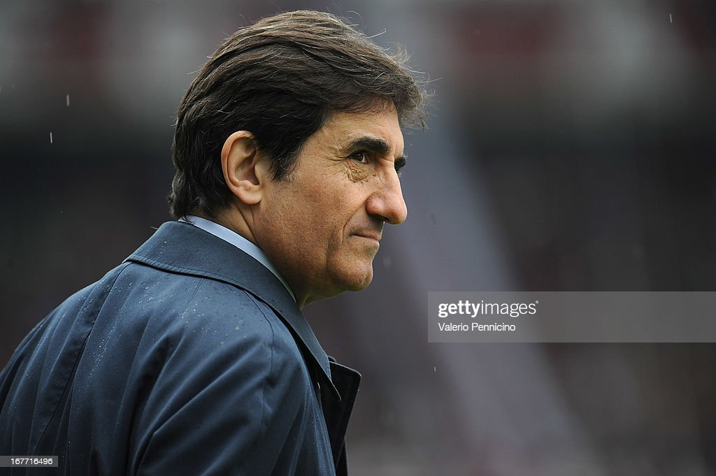 Torino FC president Urbano Cairo looks on prior to the Serie A match between Torino FC and Juventus at Stadio Olimpico di Torino on April 28, 2013 in Turin, Italy.