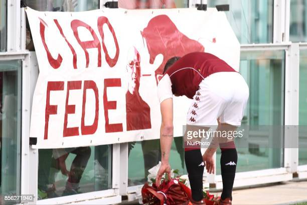 Torino forward Andrea Belotti brings some flowers before the Serie A football match n7 TORINO HELLAS VERONA on at the Stadio Olimpico Grande Torino...