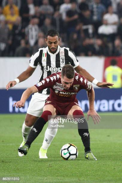 Torino forward Andrea Belotti fights for the ball against Juventus defender Medhi Benatia during the Serie A football match n6 JUVENTUS TORINO on at...