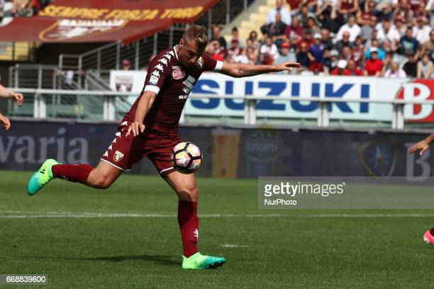 Torino forward Maxi Lopez shoots the ball during the Serie A match between FC Torino and FC Crotone at Stadio Olimpico di Torino on April 15 2017 in...