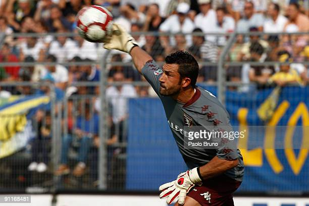 Torino goalkeeper Matteo Sereni in action during the Serie B match between Frosinone Calcio and Torino FC at Matusa Stadium on September 26 2009 in...