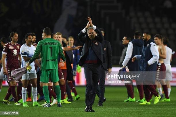 Torino head coach Sinisa Mihajlovic salutes the fans at the end of the Serie A match between FC Torino and FC Internazionale at Stadio Olimpico di...