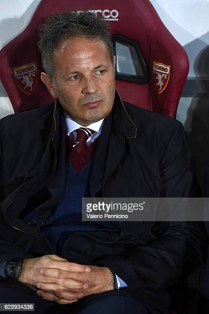 Torino head coach Sinisa Mihajlovic sits on the bench during the Serie A match between FC Torino and AC ChievoVerona at Stadio Olimpico di Torino on...