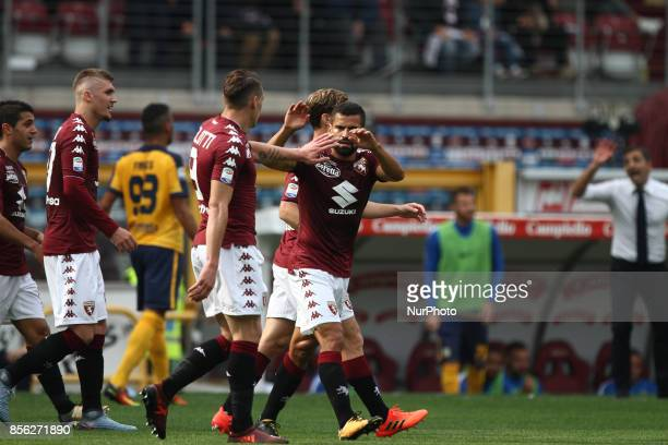 Torino midfielder Tomas Rincon celebrates with Torino forward Andrea Belotti during the Serie A football match n7 TORINO HELLAS VERONA on at the...