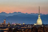 Torino panorama with the Mole Antonelliana at twilight