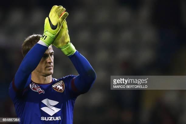 Torino's British midfielder Joe Hart reacts after the Italian Serie A football match Torino versus Inter Milan on March 18 2017 at the 'Grande Torino...